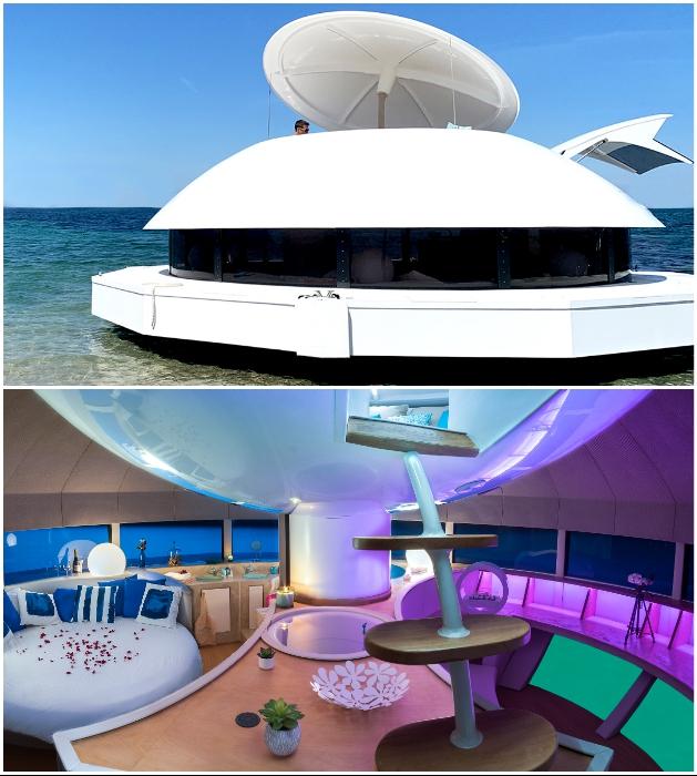 Первый в мире плавучий эко-отель предлагает незабываемый отдых в пятизвездочных круглых яхтах («Anthenea», Франция). | Фото: magazine.bellesdemeures.com.