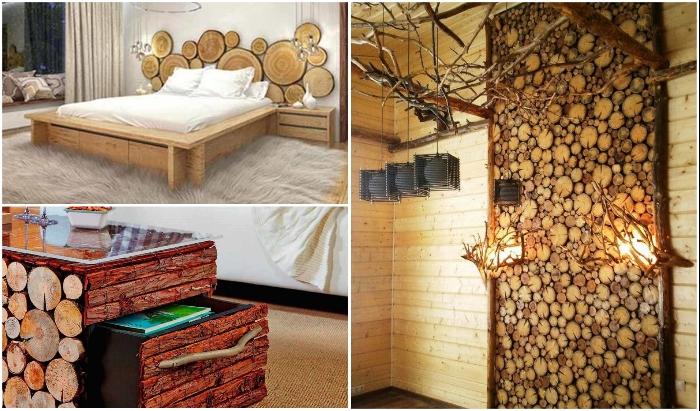 Даже если вы приверженность эко-стиля, не стоит декорировать спилом все имеющиеся площади. | Фото: kak-svoimi-rukami.com/ ogorod.mirtesen.ru.