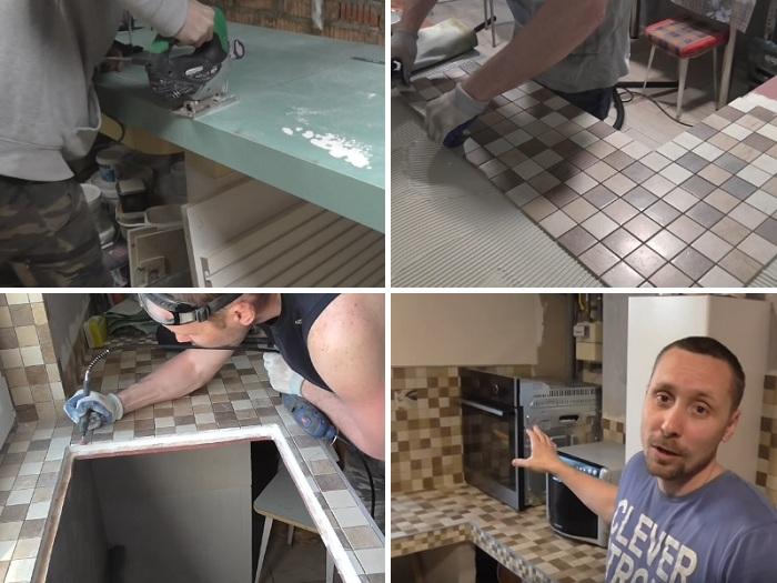 Евгений Широков решил создать столешницу для кухни из гипсокартона. | Фото: youtube.com.