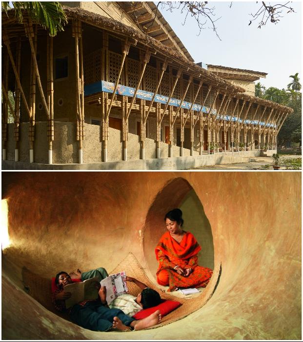 Утрамбованная земля и тростник стали основой конструкции, а грязь из болот использовалась для внутренних отделочных работ (Anandaloy, Бангладеш).