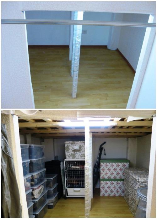 В кладовке под кроватью-чердаком помещается очень много вещей. | Фото: youtube.com/ Anna_Studio.