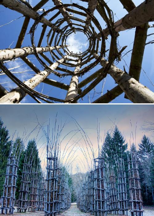 Из веток и прутьев деревьев нужно было создать 42 клетки-колонны, внутри которых высадили грабы («Cattedrale Vegetale», Италия).   Фото: italianways.com/ demilked.com.