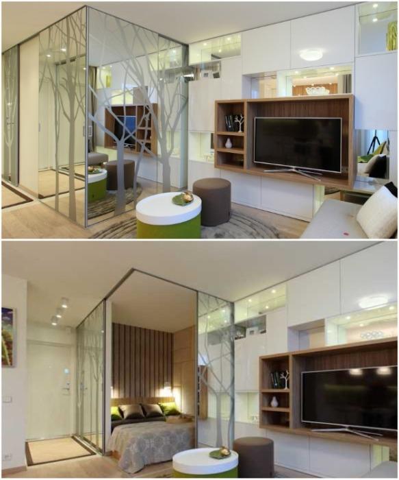 С помощью раздвижной системы удалось организовать изолированную спальню. | Фото: trustload.com.
