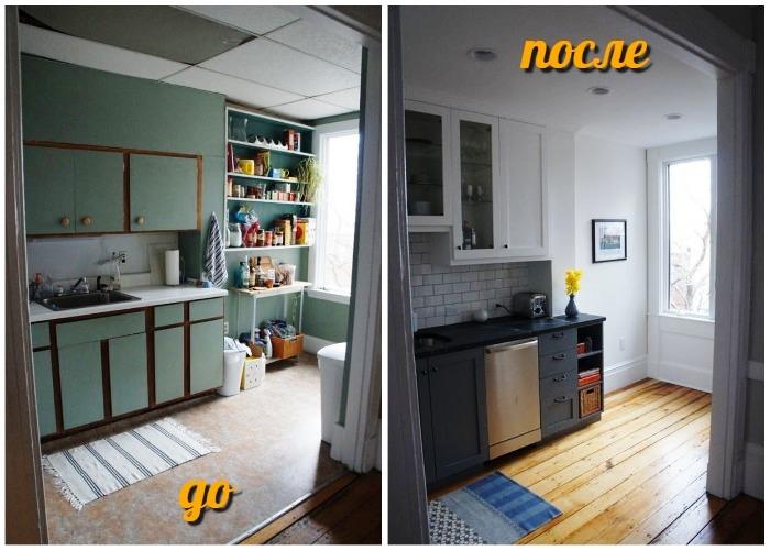 Кардинальное преображение узкой кухни в старинном доме.