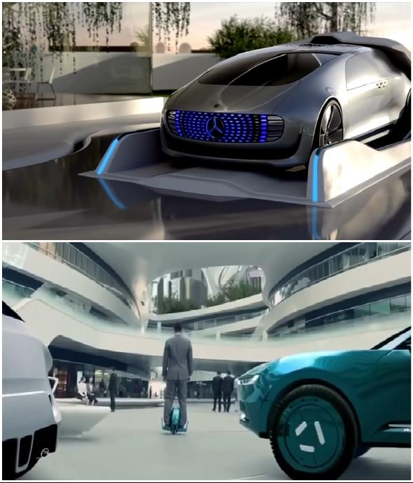 Летающие электромобили и гироскутеры станут основными средствами передвижения по городу (NEOM). | Фото: youtube.com/ © ArchDaily.