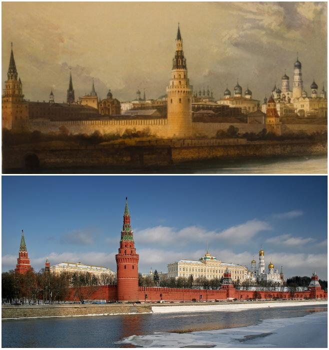 Старейшее документальное изображение Московского Кремля и наше время (1841 г. дагерротип Леребура). | Фото: moscowwalks.ru/ ermakvagus.com.