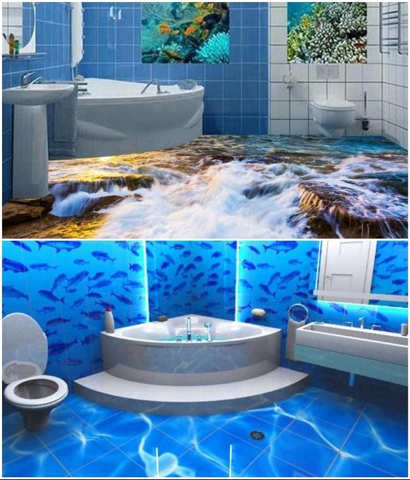 Ванная в морском стиле – довольно распространенный дизайн интерьеров.   Фото: designstilno.ru/ ru.dhgate.com.