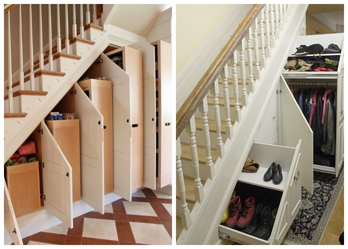 Если в доме есть лестница ее внутреннюю площадь нужно использовать максимально. | Фото: dekorin.me.