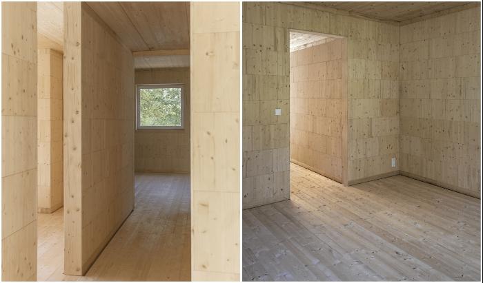 Узкие переходы через гостиную соединяют все отдельно стоящие комнаты (Haus Koeris, Германия). © Zeller & Moye.