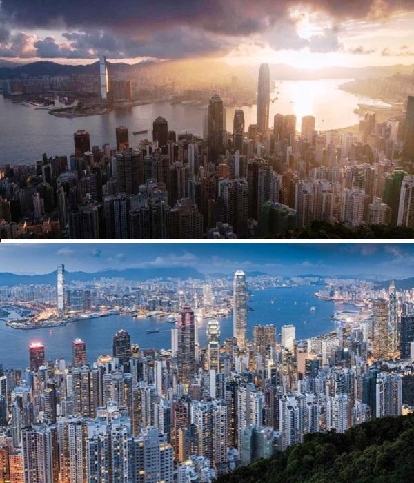 Гонконг в разное время суток (Китай). | Фото: instagram.com/ Lee Mumford.