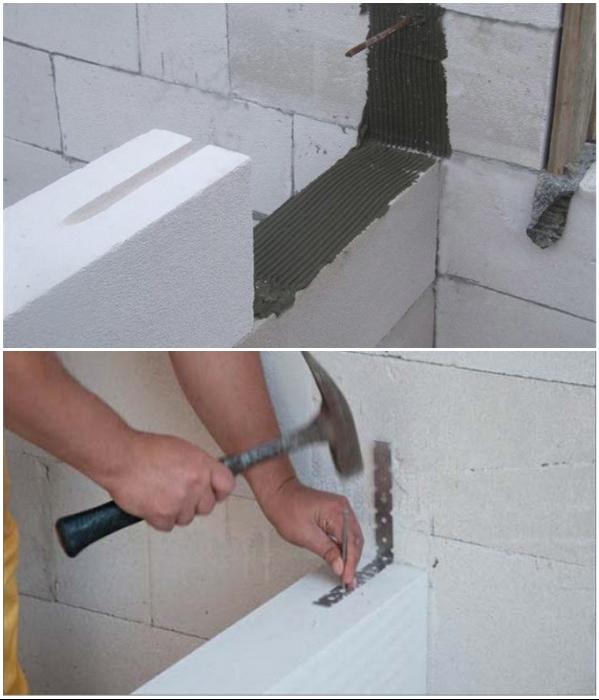 Растворы/клеящие вещества и способы крепления каркаса зависят от выбора строительного материала несущих стен будущего гарнитура.   Фото: beton-house.com.