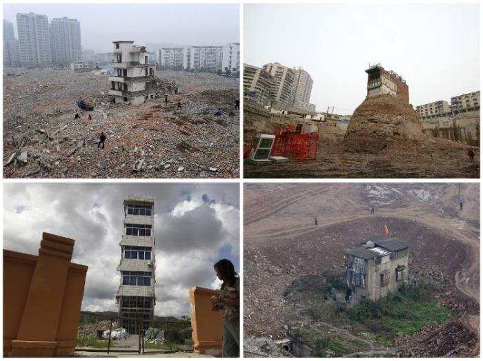 Одинокие дома-гвозди посреди строительных площадок довольно привычное китайское явление. | Фото: telegraf.com.ua.