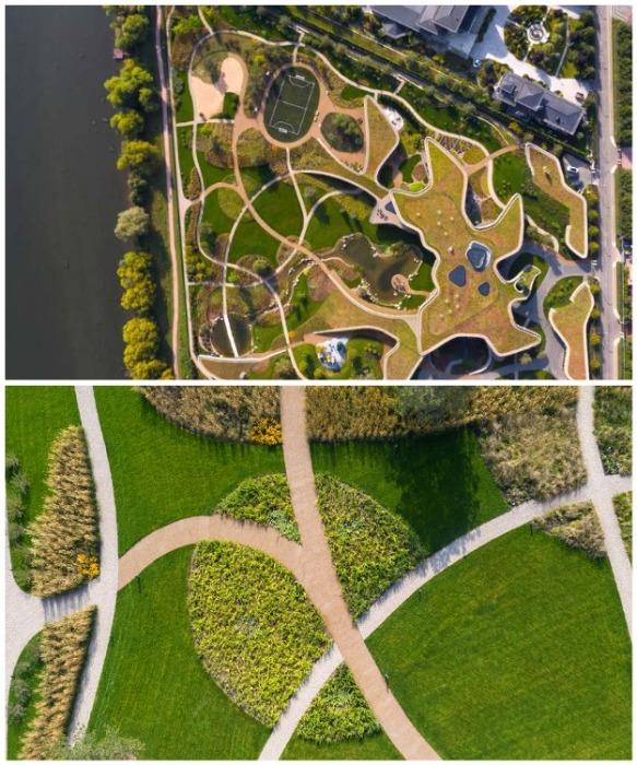 Разветвленная сеть дорожек и газонов с плавными краями стала дополнительным украшением участка. | Фото: world-architects.com/ © Ilya Ivanov.