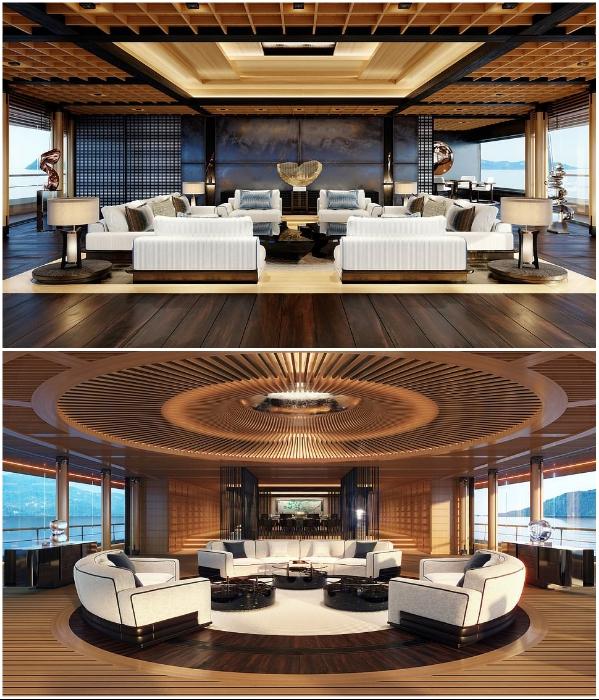 На каждой палубе организованы крытые лаунж-зоны (концепт «AQUA»). | Фото: breakingnews.ws/ © Sinot Yacht.