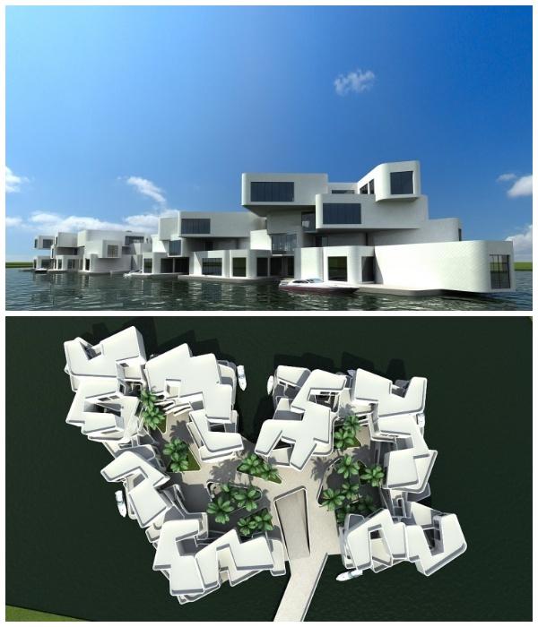 Уникальный плавучий жилой комплекс NL The Citadel может противостоять приливам и отливам (Голландия).