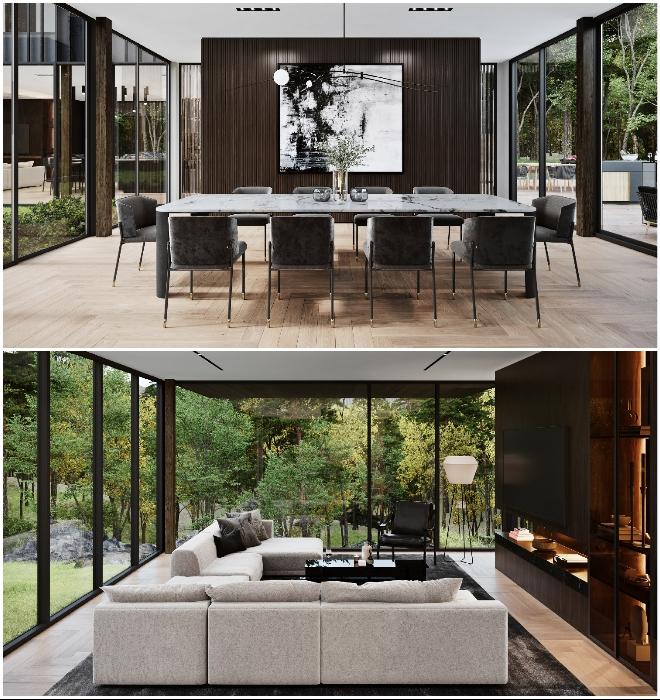 Столы с мраморными столешницами и мягкая мебель, отделанная кожей и бархатом, еще больше подчеркнут роскошную атмосферу дома (концепт Sylvan Rock).