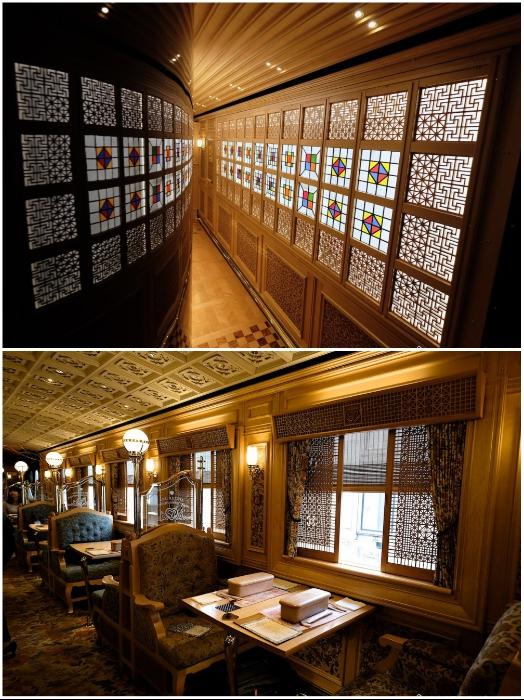 Вагон класса «Люкс» экскурсионного поезда «Aru Ressha» (общие зоны пользования). | Фото: fukuoka-now.com./ pinterest.com.