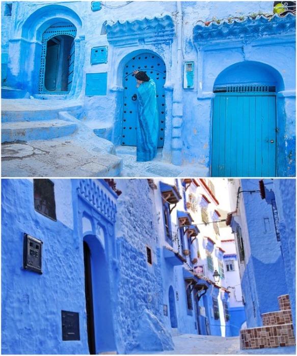 Местные жители считают, что синий цвет – это символ гостеприимства и мира (Chefchaouen, Марокко). | Фото: factinteres.ru.
