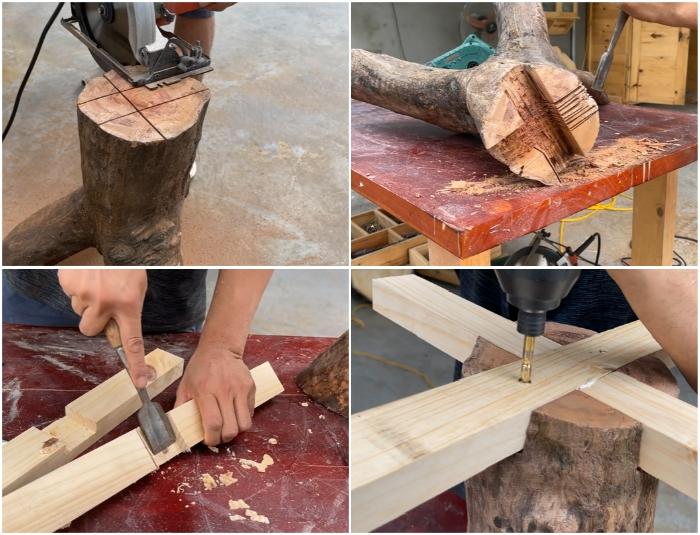 Процесс создания крестообразного углубления и закрепление крестовины из бруса.