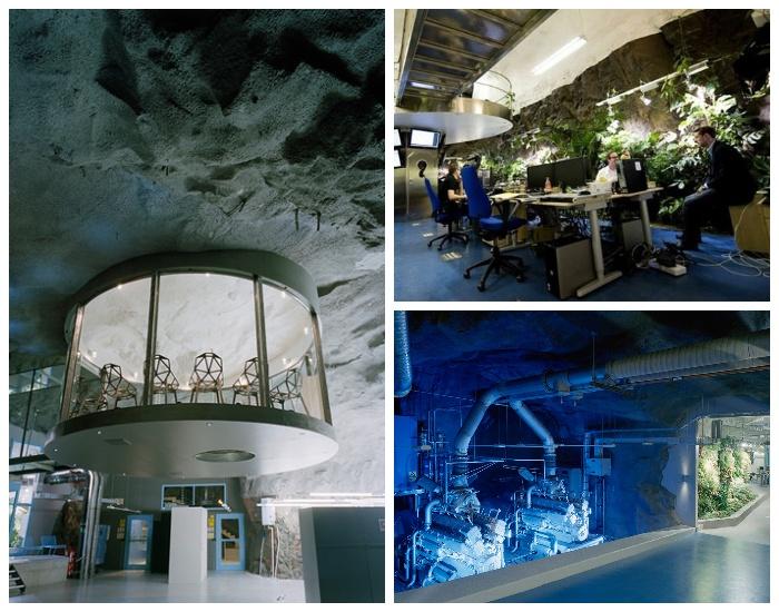 Подземный офис интернет-провайдера Bahnhof Office в Стокгольме (Швеция).