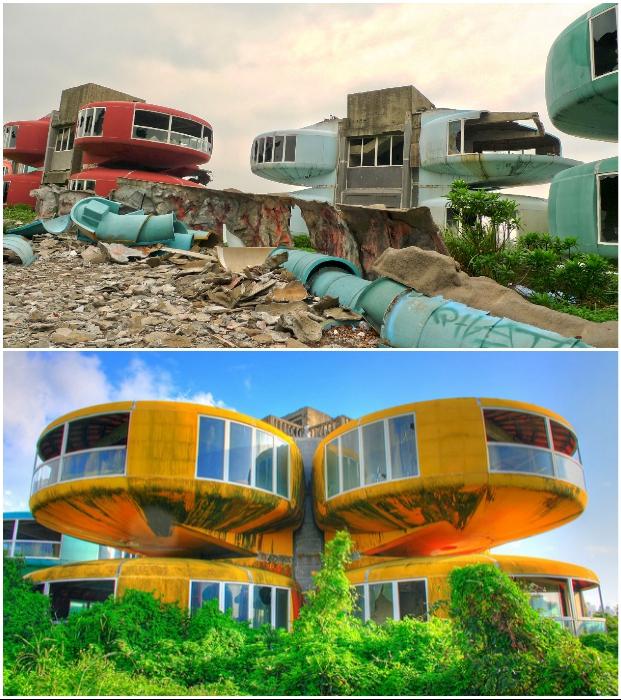 Деревню Футуро, больше похожую на объект из научно-фантастического фильма, так и не достроили (UFO houses, Тайвань).