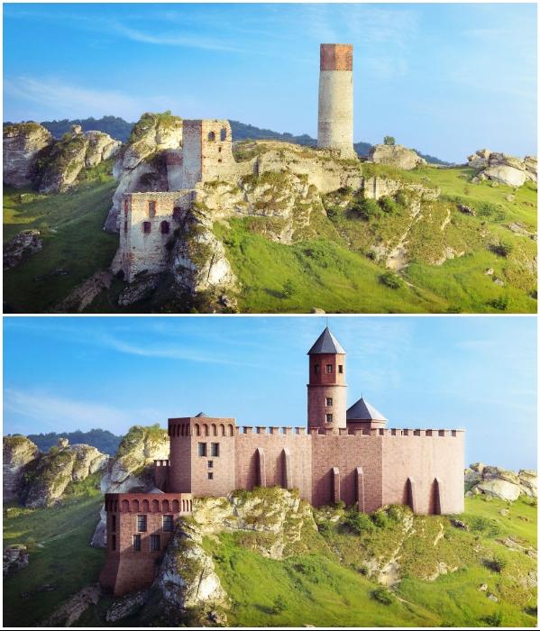 Руины и цифровая реконструкция замка-крепости Ольштын (Ольштын, Польша). | Фото: boredpanda.com/ © budgetdirect.