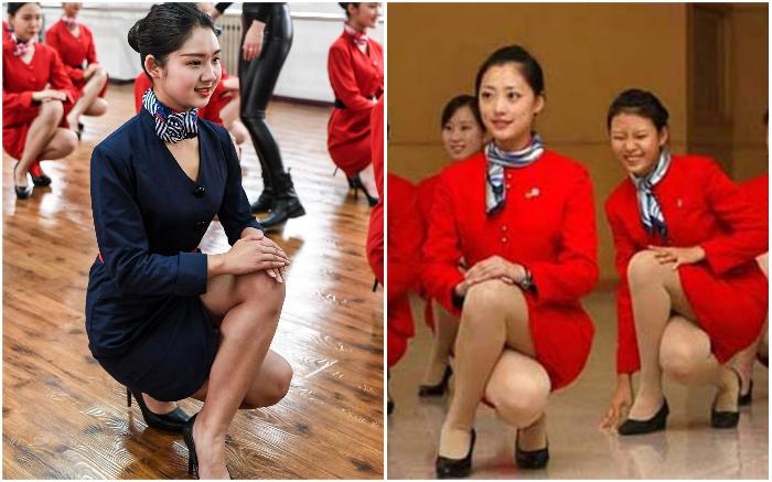 Только так стюардесса может присесть, чтобы поднять упавшую вещь или предмет. | Фото: bravedefender.ru.