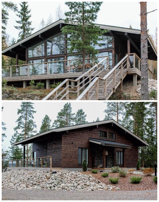 Учитывая ландшафт местности, дом с одной стороны стоит на сваях (Деревянная вилла Airisto).