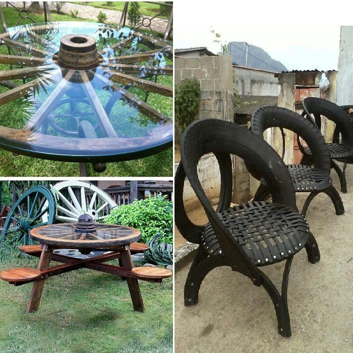 Сделать мебель из колеса от телеги или автомобильных покрышек.