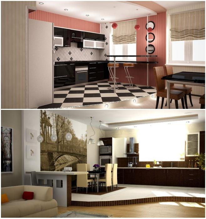 Когда кухню объединили с жилой комнатой, то ее можно выделить при помощи подиума. | Фото: kitchenguide.su/ mebelblok.ru.