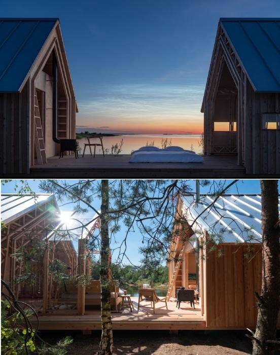 Террасу по центру дома можно сделать как полностью открытой, так и прикрыть стеклянной конструкцией (Cabin ANNA).