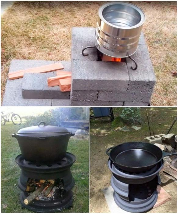 Уличную печь можно соорудить и на скорую руку  из бросового материала/предметов. | Фото: sam-stroitel.com/ pechnoy.guru.