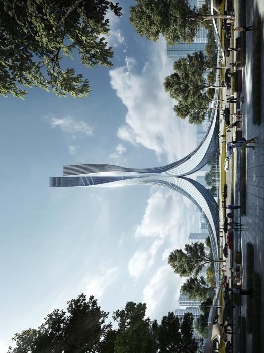 Если повернуть переплетенные небоскребы на 90 градусов, то они будут похожи на летящего гуся (концепт RMJM Shanghai). | Фото: archdaily.com.