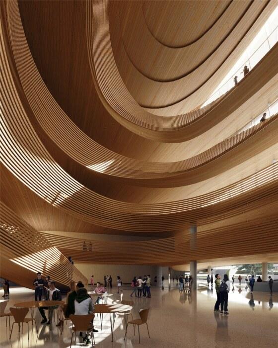 Плавные извилистые линии станут характерной чертой и при оформлении интерьеров (концепт Jiaxing Civic Center).   Фото: dailyarchitecturenews.com.