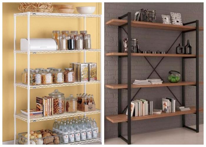 Открытые стеллажи можно устанавливать и в гостиной и в кухне. | Фото: postremont.ru.