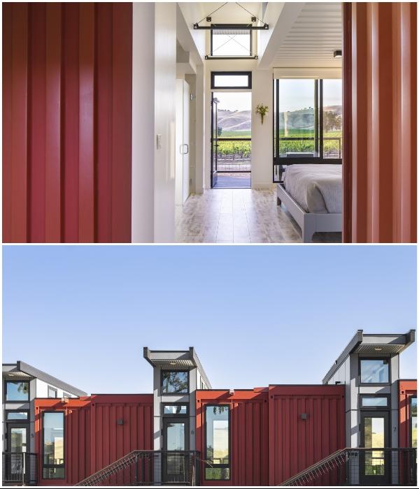 Стеклянные вставки между контейнерами обеспечивают солнечным светом внутреннее пространство («Geneseo Inn», Калифорния). | Фото: newatlas.com/ casswines.com.