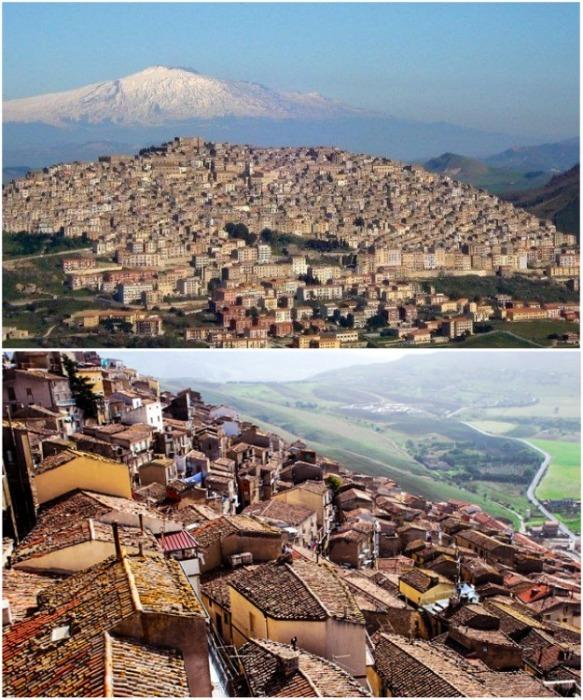 Красивейшему городу Ганджи на склоне горы Мадоние тоже грозит вымирание (Италия). | Фото: yaplakal.com.