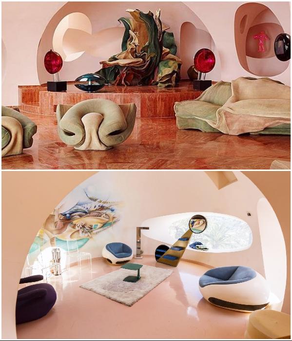 Каждый из «пузырей» был оформлен разными известными художниками современности. | Фото: magazine.bellesdemeures.com/ esquire.ru.