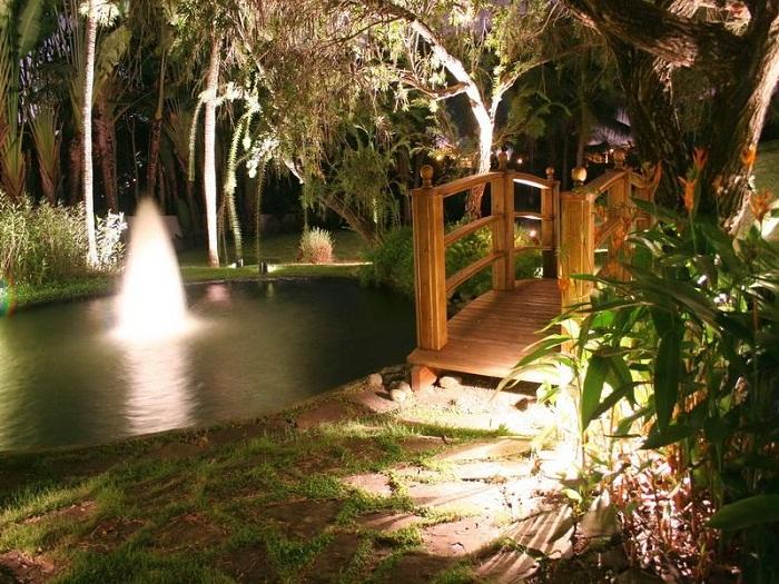 В ночное время можно подсветить воду в пруду.