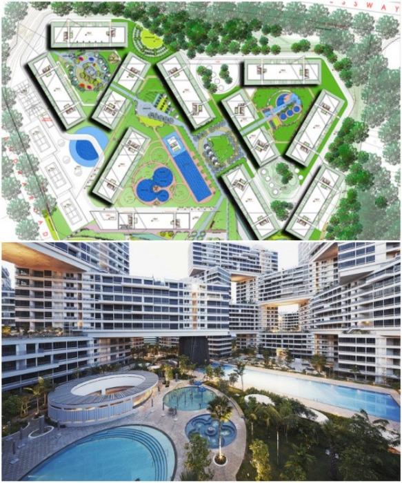 ЖК «Interlace» задуман как «вертикальная деревня», поднимающаяся от Южных Горных хребтов (Сингапур). | Фото: worldlandscapearchitect.com.