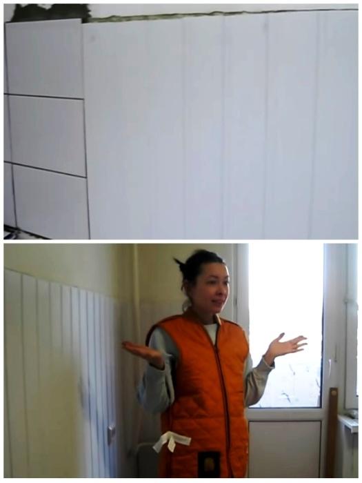 На нижней части стен сделали панель из пластиковой вагонки белого цвета. | Фото: youtube.com.