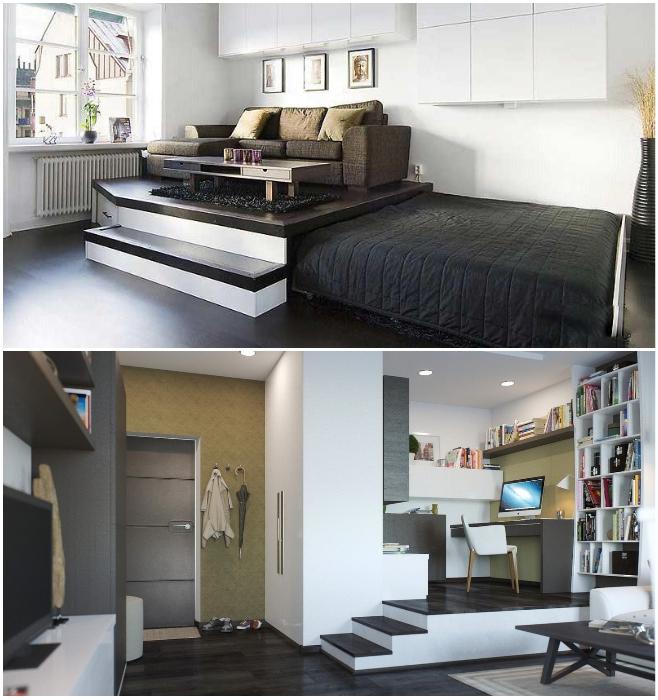 Подиум в квартире-студии – идеальная конструкция для рационального использования пространства. | Фото: remont-samomy.ru/ cpykami.ru.