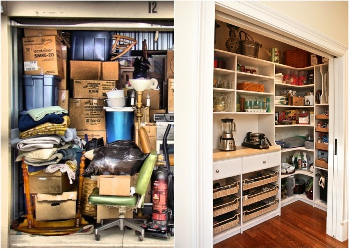 Для рационального использования любых площадей, сначала следует навести порядок в кладовке и шкафах. | Фото: 4living.ru.