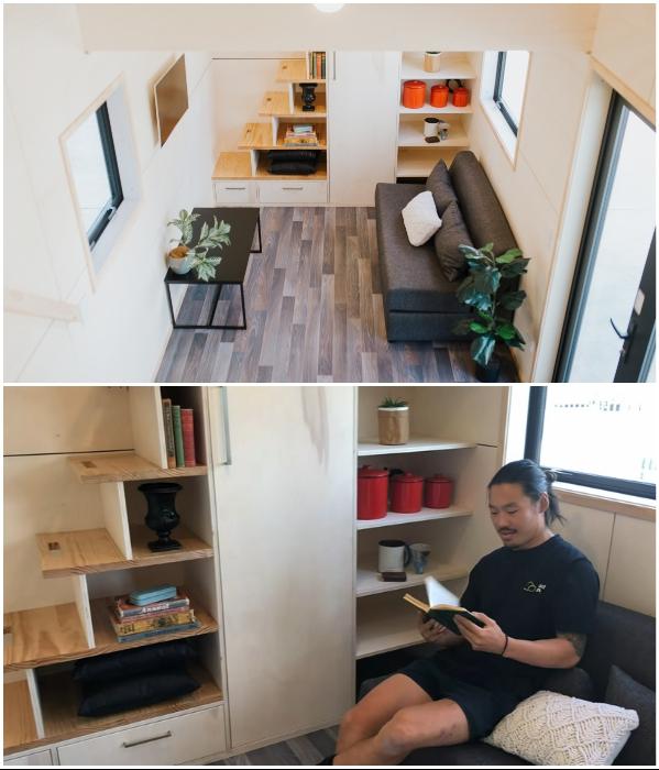 Многофункциональная гостиная может быть и гостевой спальней, и зоной отдыха, и кабинетом («Home Haven»). | Фото: newatlas.com/ youtube.com, © Gina Stevens.