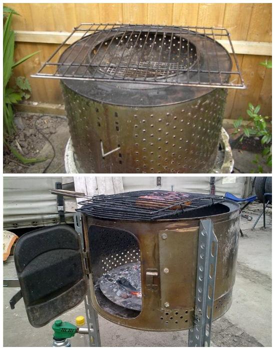 Варианты создания мангала из барабана стиральной машинки-автомат. | Фото: samodelkino.info.