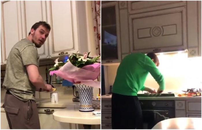 Благодаря видео о том, как любимый супруг готовит чай и моет плиту можно увидеть кухоный гарнитур. | Фото: instagram.com.