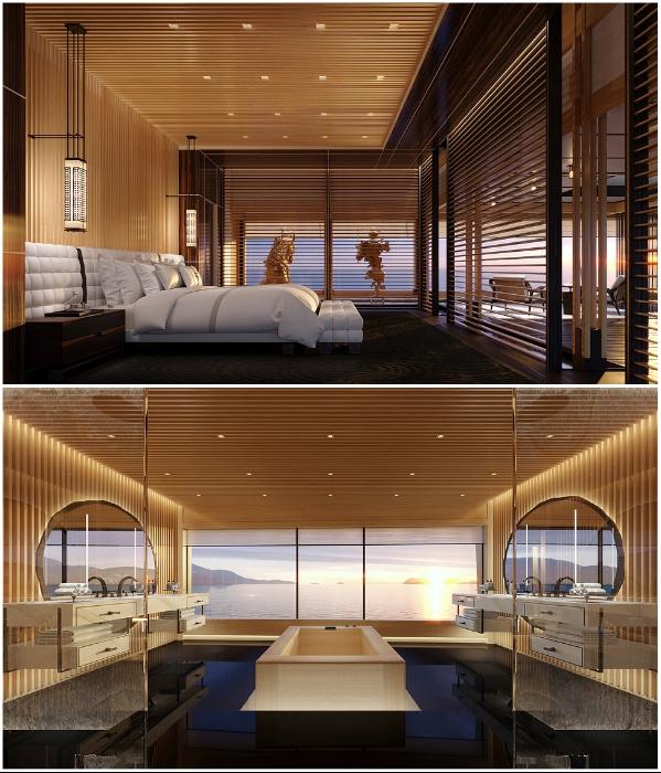 Панорамные окна позволят любоваться морским пейзажем и в спальне и в ванной комнате (концепт «AQUA»). | Фото: sinot.com, © Sinot Yacht.