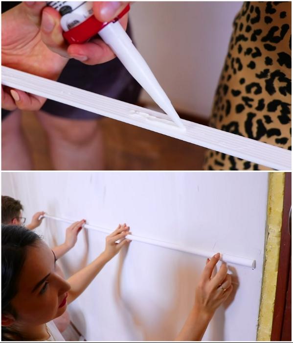 Приклеиванием планки пенопластовых молдингов нужно заниматься вдвоем. | Фото: youtube.com/ © Fancy smth.
