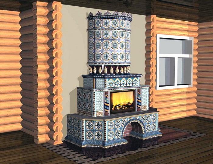 Русская печь оформлена в стиле «русская изба» и украшена изразцами в голубом тоне. Является главной яркой точкой убранства.