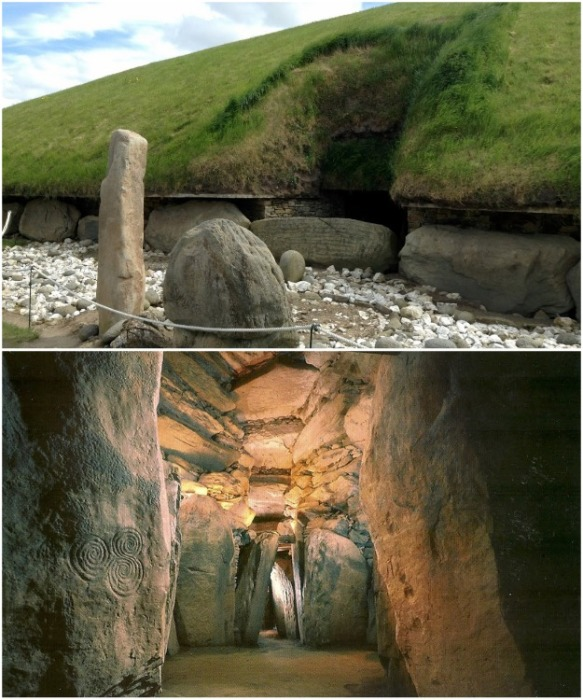 Вход в Ньюгрейндж и загадочный коридор, ведущий к усыпальнице и алтарю («Королевское кладбище Бру-на-Бойн», Ирландия). | Фото: zen.yandex.ru.